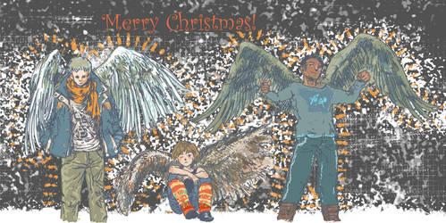 Merry Xmas ~ Winged Folk by Pen-scribble