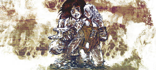 The Lycanthrope and the Weeping Woman by Pen-scribble