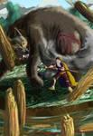 Fenrir vs Odin by VampireSessh