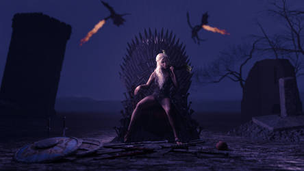 Daenerys on The Iron Throne by FunFictionArt