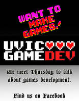 UVic GameDev flyer handout by coltonphillips