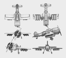 Wireframe renders of a dieselpunk airoplane by WilhelmE