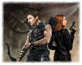 Hawkeye and Black Widow - Arrows and Bullets by LadyMintLeaf