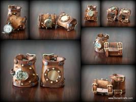Steampunk Bracers witha Wristwatch by DorianPipes