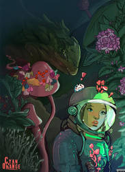Space Girl and the Dragon - Personal Illustration by Cyan-Orange-Studio