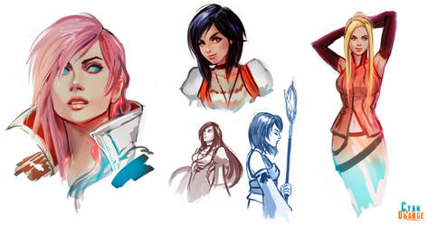 FF Girls! - Color Sketches by Cyan-Orange-Studio