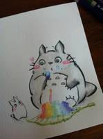 Totoro and its rainbow birthday cake by Aquamoore