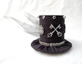 Tiny Top Hat: Punk Rocker with Black Back Veil by TinyTopHats