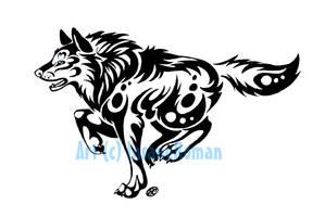 Blue Eyed Running Wolf Tribal by InsaneRoman