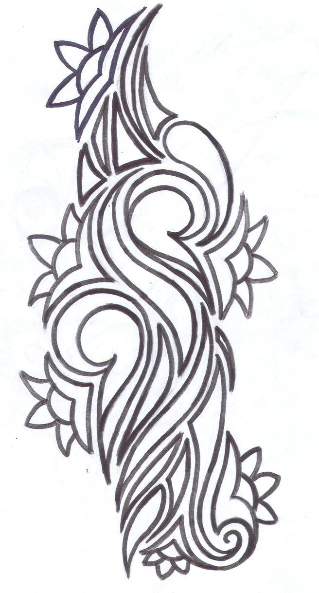 Tribal Flower Tattoo Design By Average Sensation On Deviantart