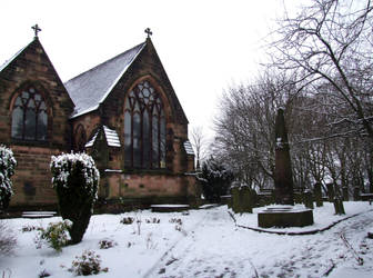 Church, Graveyard and Snow 4 by Ravven-Stock