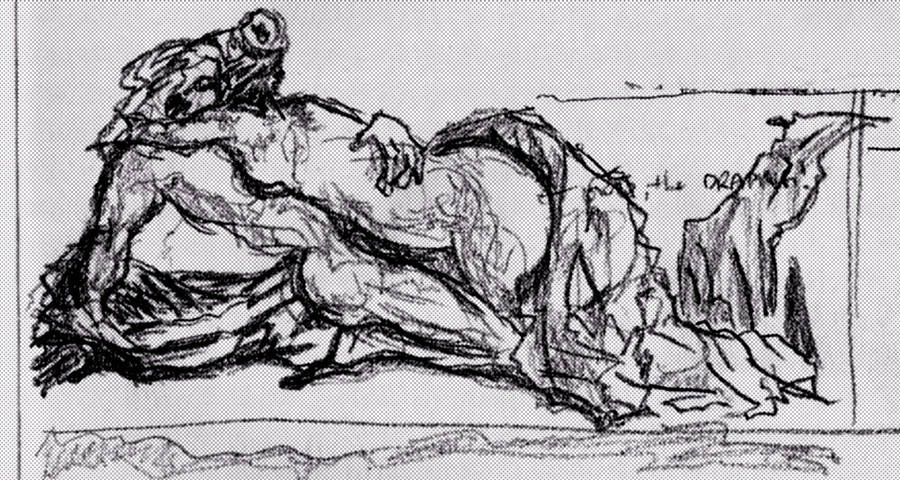 Embrace, prelim sketch by assignation