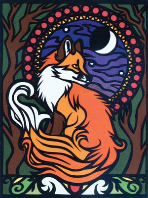 Art Nouveau Fox by PoonieFox