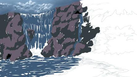 Waterfall Retreat -WIP- by chaosdragon11590