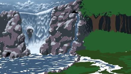 Waterfall Retreat -WIP2- by chaosdragon11590