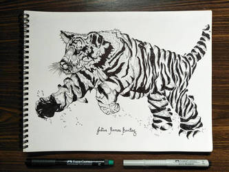 Growling Tiger In Deconstructed Style by JuliusRamosBantog