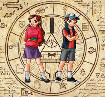 Mabel and Dipper in anime style by Marilia-Barbosa