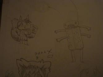 fox + roachy thing + gaah Dx by Squidora