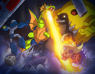 Godzilla VS- Wily Castle by OUTCASTComix