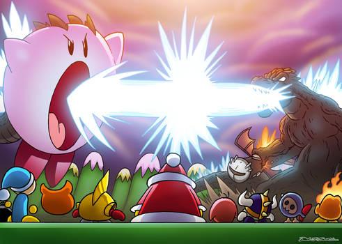 Godzilla vs Kirby by OUTCASTComix