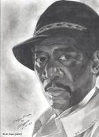 Morgan Freeman portrait by RogueDerek