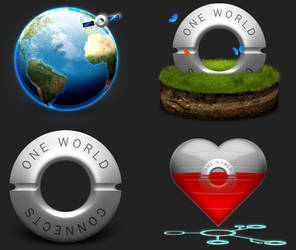 One World Connects Icons by dylanrw