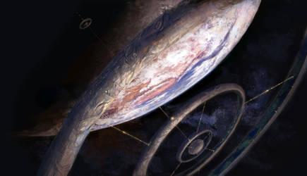 Space Elevator Space Colony by Vladinakova