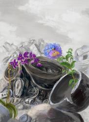 Commission: JunkYard Flowers by Vladinakova