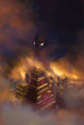 Book Cover Illustration - Darkness Decends by Vladinakova