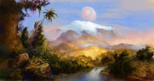 Mountain in the Jungle, Habitable exomoon by Vladinakova
