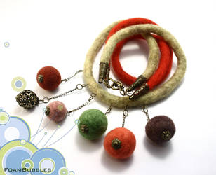 Rainbow Felted Necklace by FoamBubbles