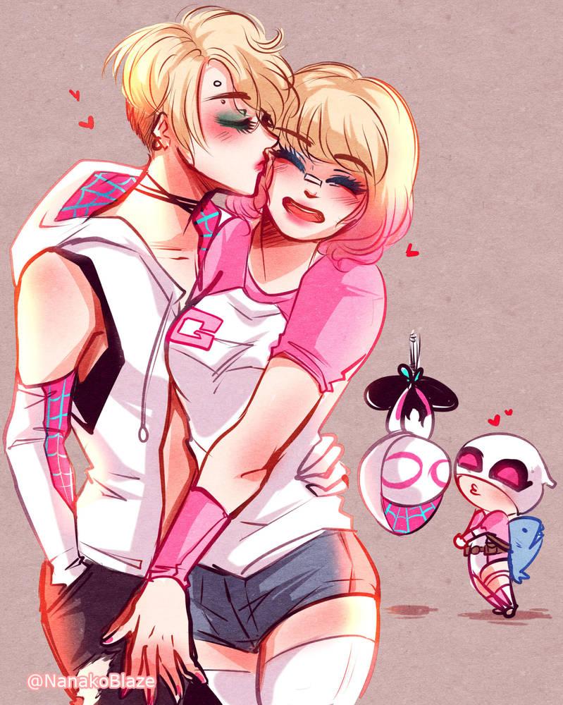 Pink!Spideypool by NanakoBlaze