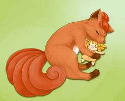A Vulpix With A Doll by MaddoxNinetalesrocks