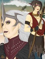 Morrigan and Flemeth by Horu-chan