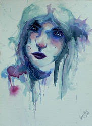 Abstract watercolor portrait 2 by Kairaus