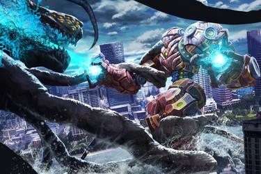 Robot battle by LoserMcCrappyart