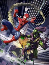 Spider-man vs. Green Goblin by LoserMcCrappyart