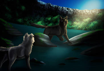 Felvargs- Iskra Fight in the cave by deadlylupine