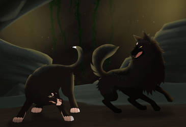 Felvargs- Cave battle!! by deadlylupine