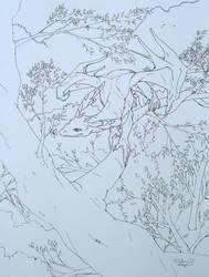 blue tree dragon line art by elen89