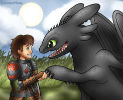 Hiccup and Toothless Fist Bump! by PokemonMasta
