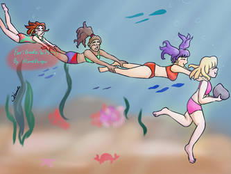 Rugrats underwater running (Comm) by HimeVargas