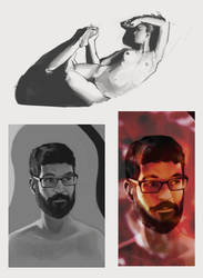 Figure Painting and Self Portrait by lhazar
