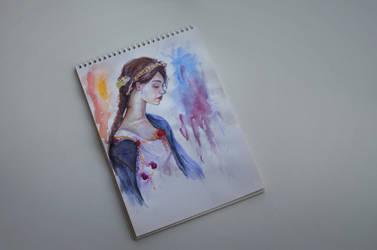 Watercolor portrait 2 by EyeLashh