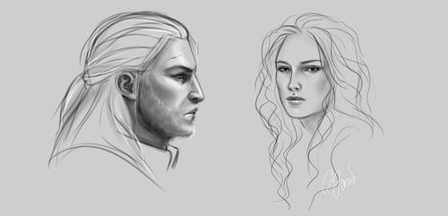 Geralt and Yennefer by EyeLashh