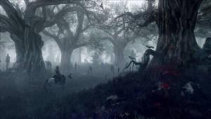 The Witcher 3 Wild Hunt Geralt travel to woods by Scratcherpen