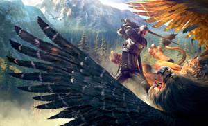 CDPR Witcher 3  Geralt batteling Griffin uber by Scratcherpen