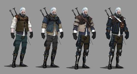 TW3 Wolf witcher armors concept art by Scratcherpen