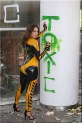 Polina at the toxic wall tattoo 3 by catsuitmodel