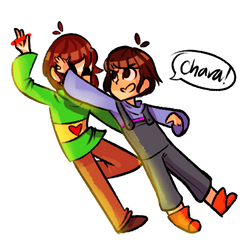 Chara and Frisk Commission from NiuniuNuko by peachyfiesta
